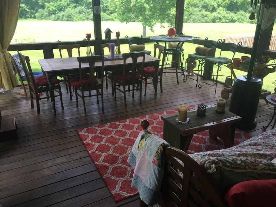 Screened porch with ceiling fans, electric outlets, heater... gas grill on back patio (no pic yet)