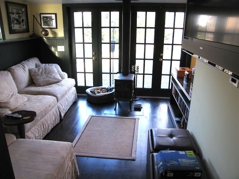 Den With French Doors To Back Yard