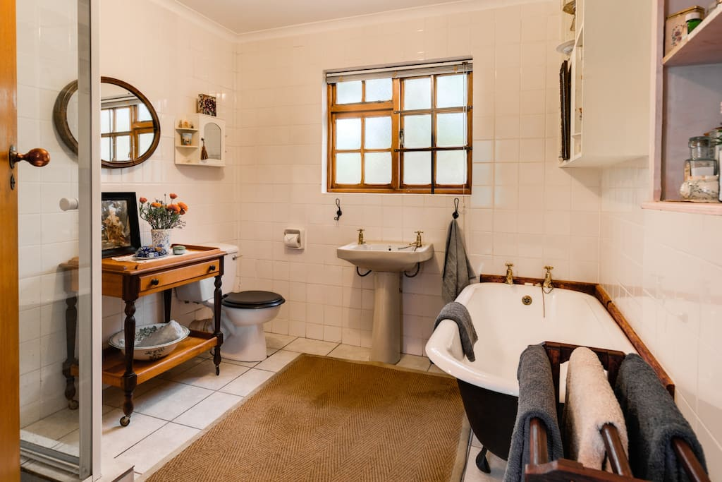 Bathroom with Victorian Bath and Shower