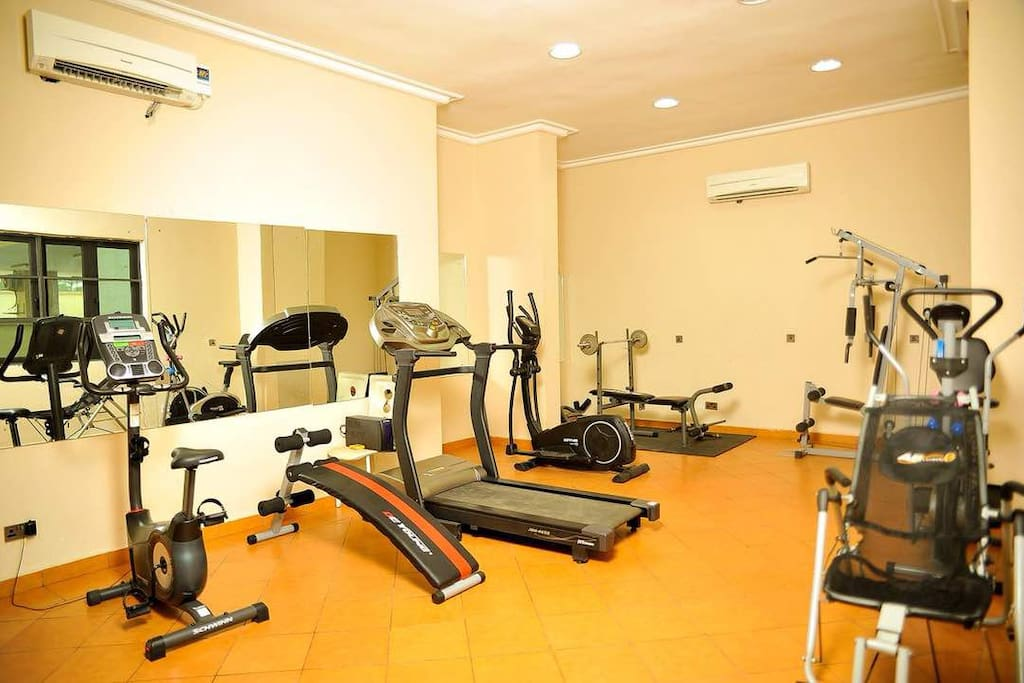 The gym Area. it has various gym equipment.