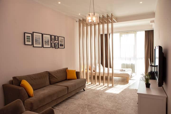 Уютная 1-комнатная квартира с видом на горы