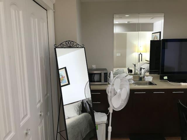 Microwave, TV, Mirrors, Closet, Extra fab