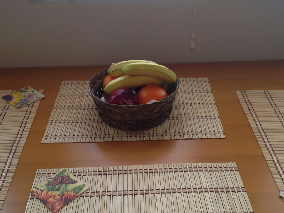 Part of your welcome breakfast includes a healthy and sweet basket.
