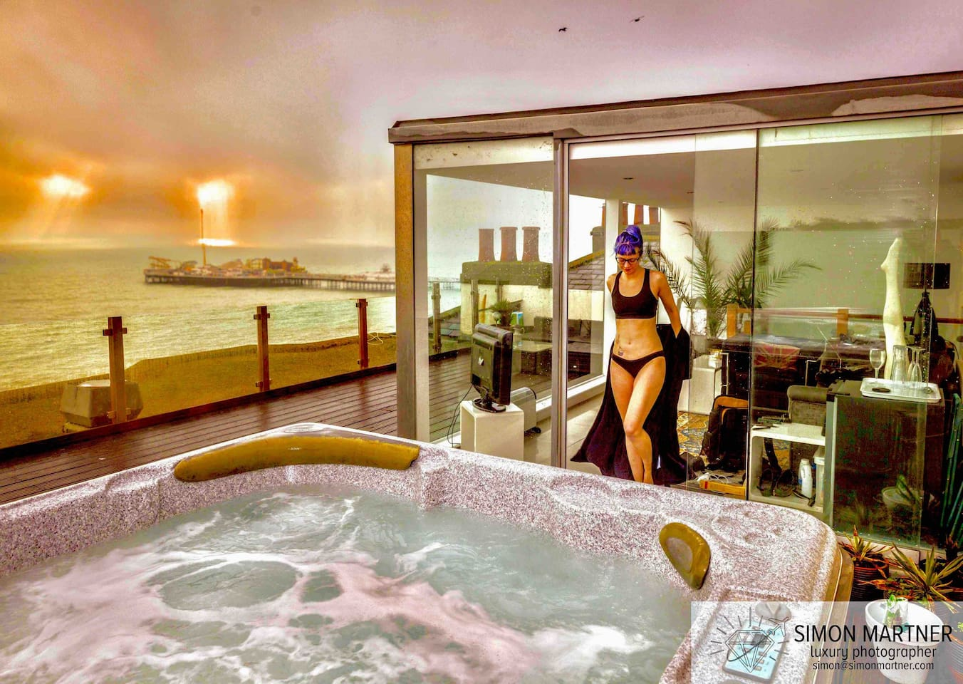 If it's something extraordinary you're looking for, you've found it. Imagine yourselves enjoying the privilege, seclusion & astonishing views of this magical place whilst luxuriating in the only frontline hot tub in Brighton.  Photo: Simon Martner