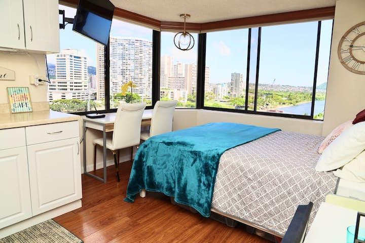 """Waikiki Sunrise Studio """" Sanitized Professionally"""""""