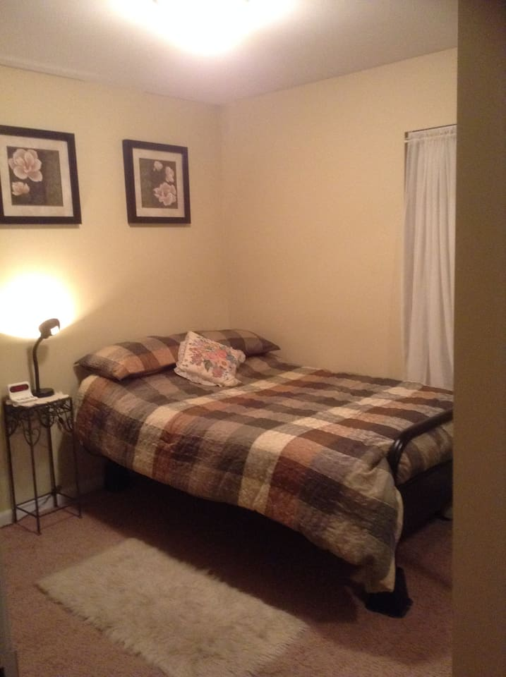 Your private bedroom has a full size bed with a comfort topper.
