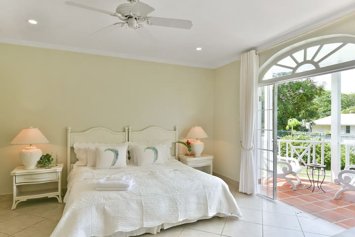 The very large master suite features a private terrace, private bathroom and large walk-in closet with ample space for luggage. Each bedroom offers air-conditioning for your sleeping comfort.