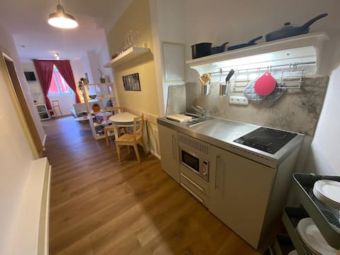 spacious suite, central location, cooking, atmosphere