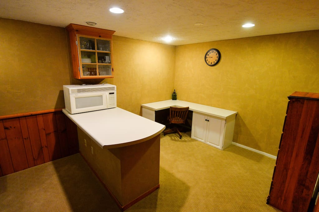 Kitchenette and work space.