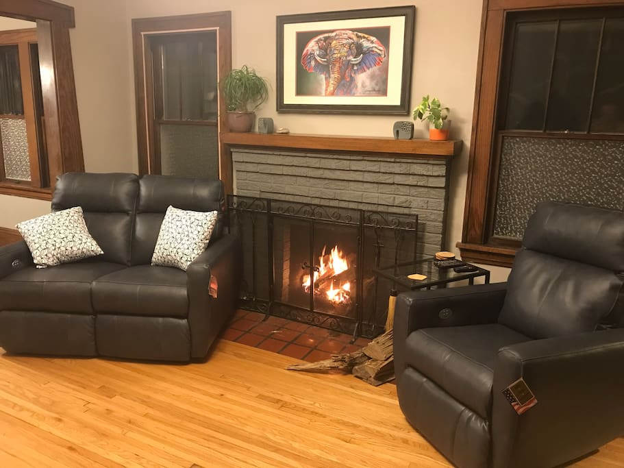 Living room recliners and wood burning fireplace