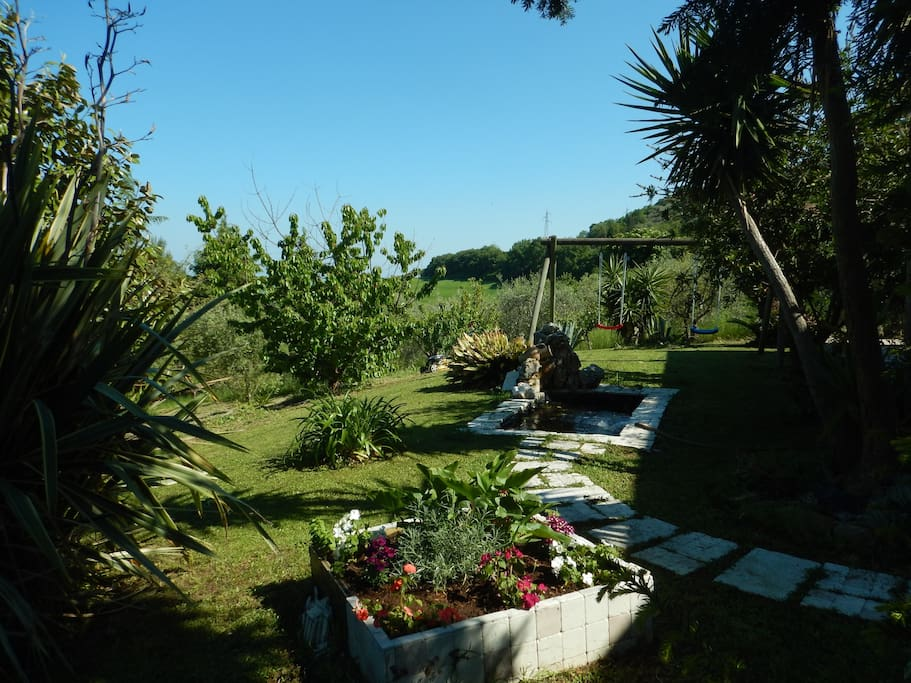 giardino con vasca pesci