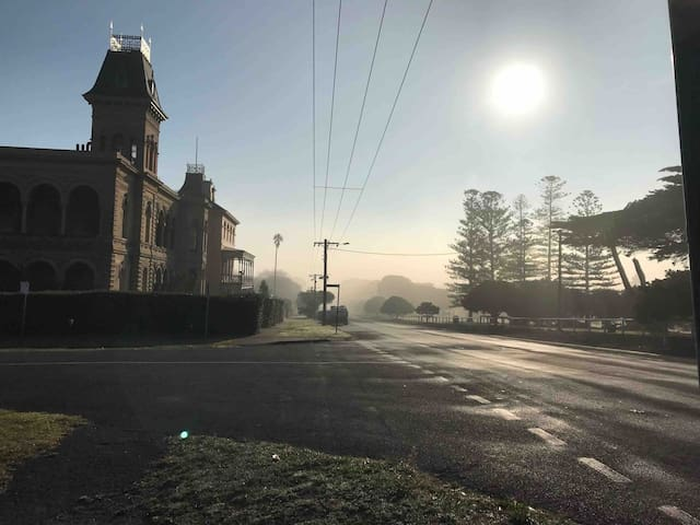 A cool morning walk in Winter, watch the fog lift.  The heritage listed Lathamstowe House on the left.