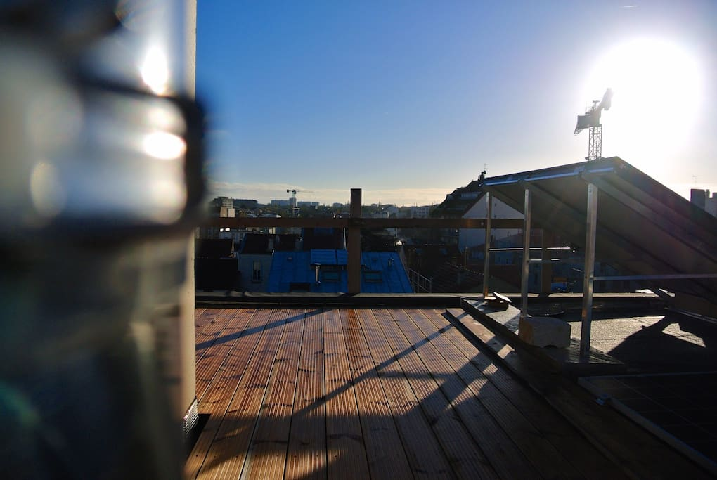 Roof terrace with thermal solar panels