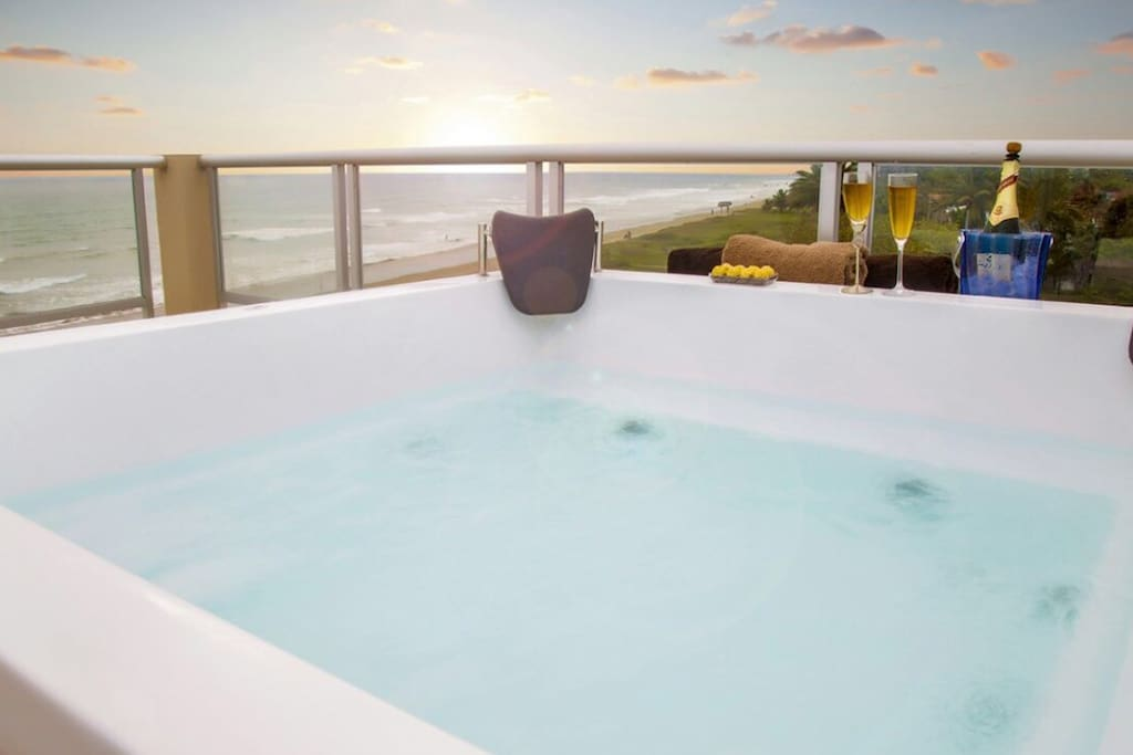 Private jacuzzi on the terrace with perfect sunset view
