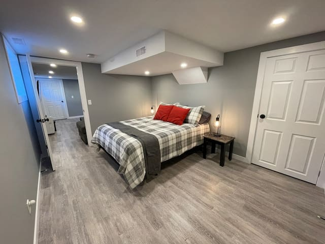 Cuddle up in the large master bedroom.