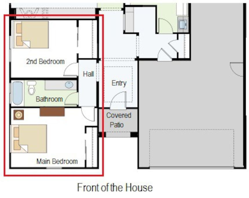 Guests bedrooms privately located in the front of the house, secluded from the living space.