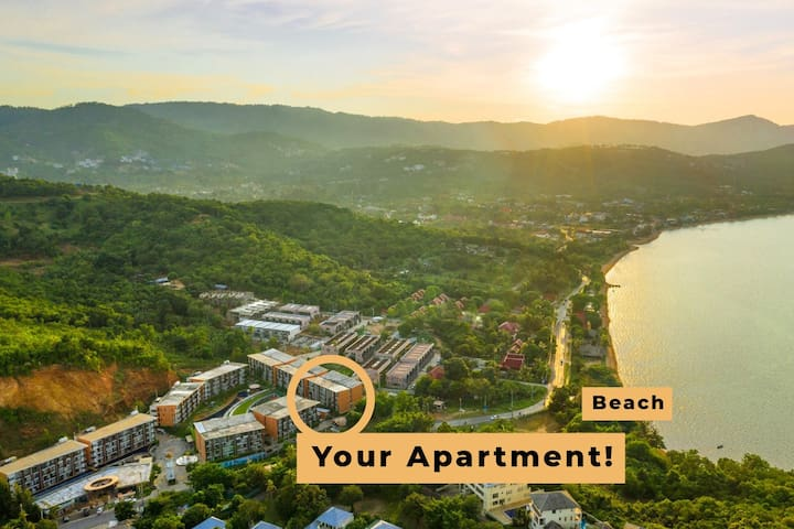 Here's a drone's eye view of the apartment and its location to the beach on glorious Koh Samui. Enjoy!