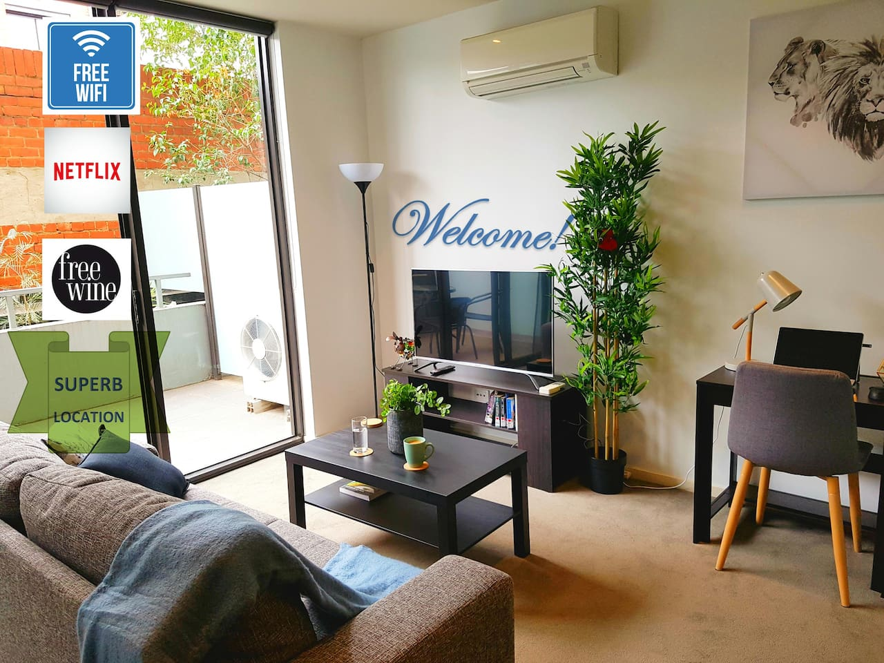Experience Melbourne at our apartment. Includes free Wifi, Netflix and wine.