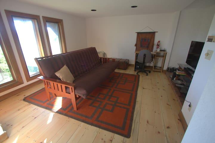 TV room/futon that opens to queen mattress