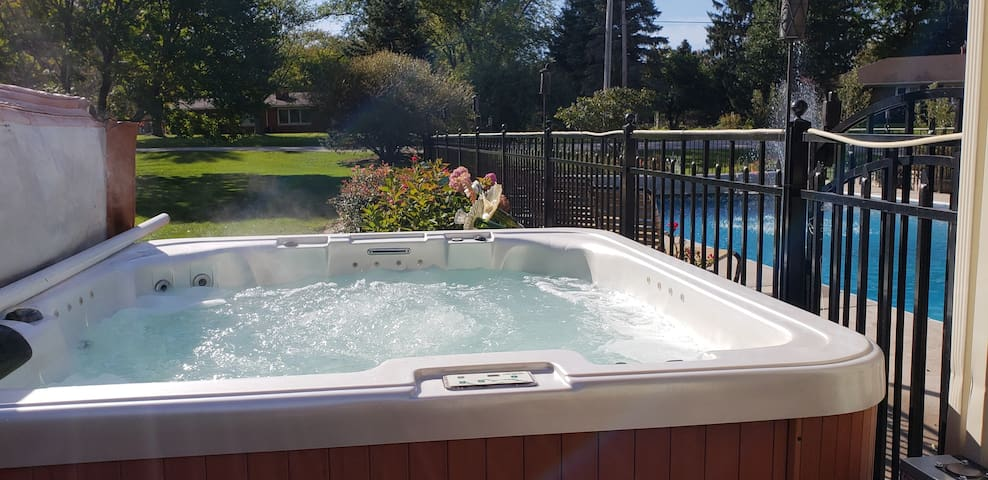 Too cool for the pool?  Relax in the hot tub anytime of year!