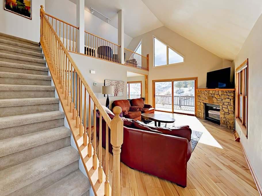 Vaulted ceilings and large windows flood the living area with light. Your rental is professionally cleaned by TurnKey Vacation Rentals.