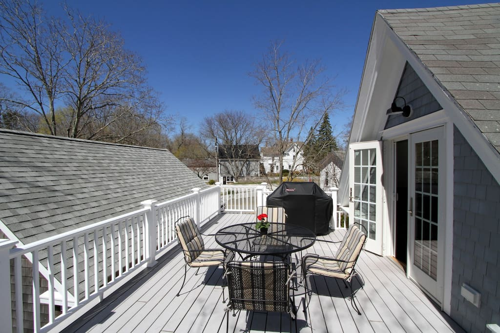 your private deck, up the outside stairway and through the french doors into your kitchen . great sunsets