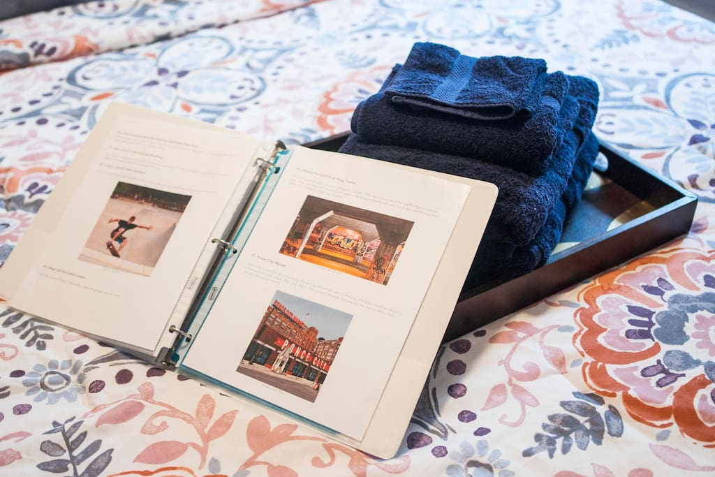 Clean towels and Airbnb Guidebook.