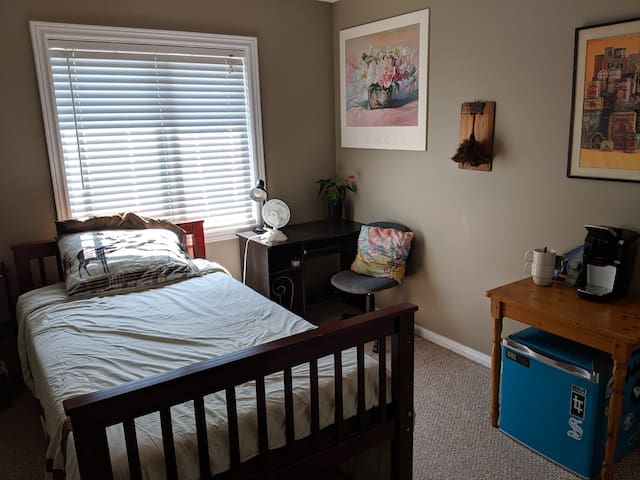 Small bedroom in quiet house on upper level.