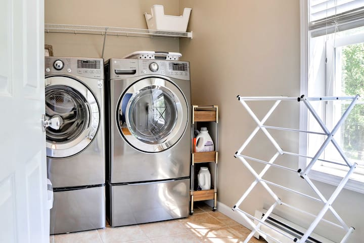 Wash off the smell of nature in the in-unit laundry machines.