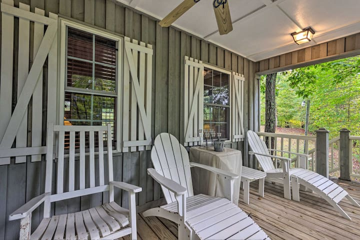 The 2-bedroom, 2-bath cabin is set in the woods, just minutes from Boone.