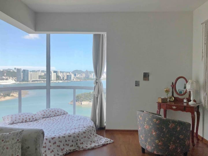 「纱梦」【婚纱拍照】超高层360°落地窗海景海景浴缸投影/楼下就是海边/地铁口一站鼓浪屿