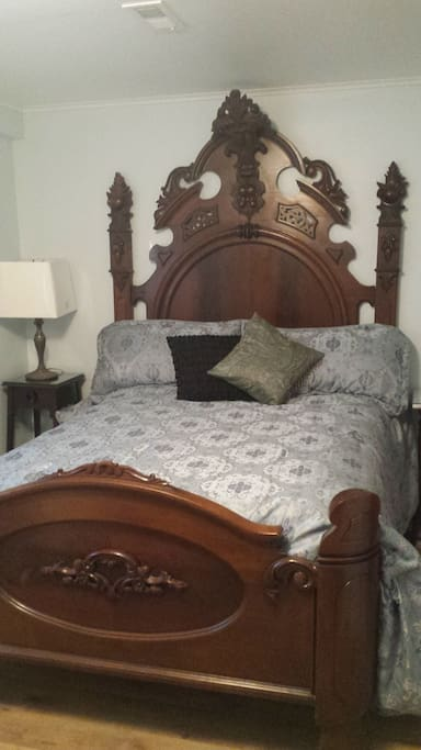 The Victorian Bed (1800s) is 8 feet tall, comfortable mattress with topper and bamboo sheets.