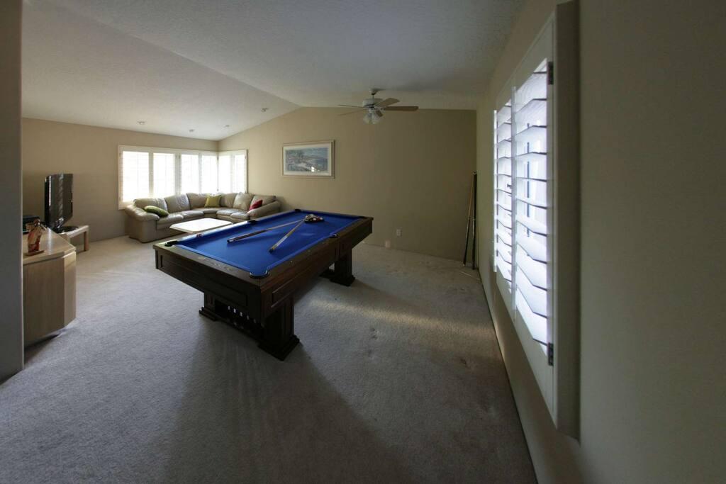 Large bonus room with pool table
