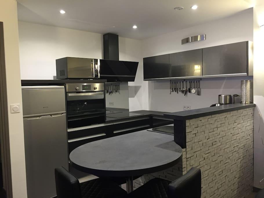 Cuisine équipée, plaques induction, lave-vaisselle, four, micro-ondes, frigidaire, congélateur