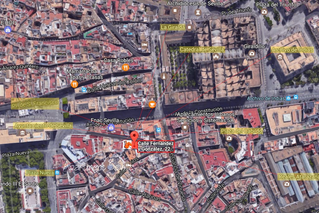 Apartment location on the map :  22,Fernández y González Street
