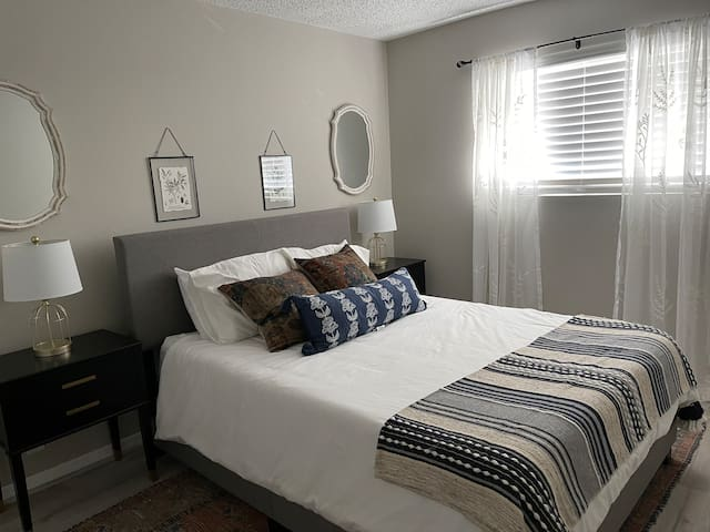 Comfortable queen bed. New premium mattress. Enjoy a restful night sleep after a fun day on the water.