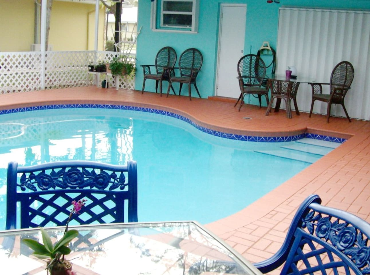 Screened in unheated salt pool/patio during the day