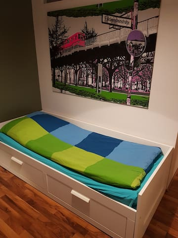 Bed can be extended for two people.