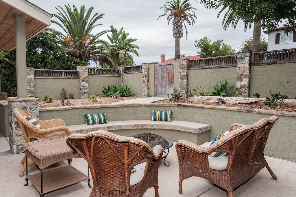 Private front yard and patio with fire pit
