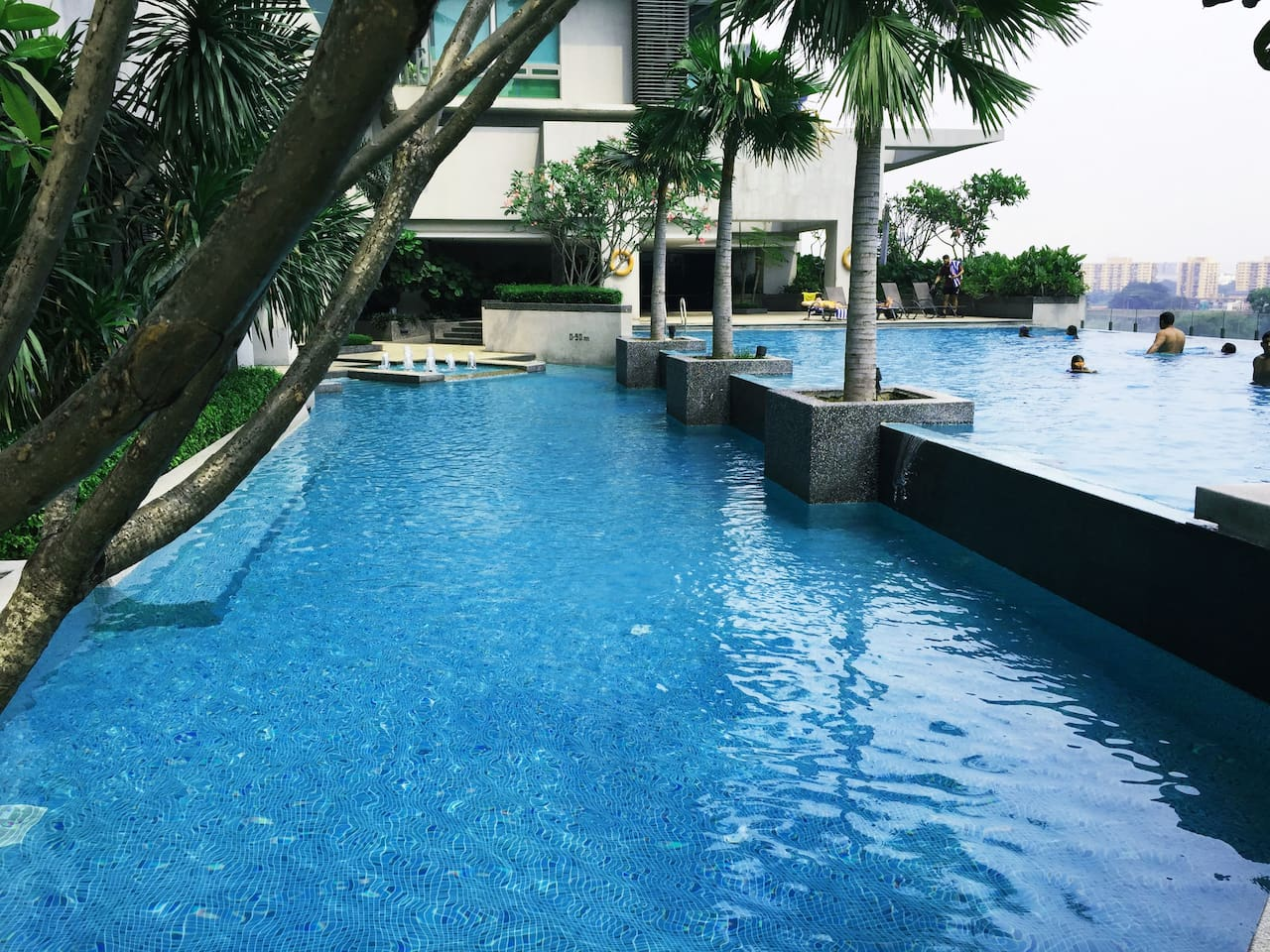 A beautiful pool area which really gets you in the vacation mood.