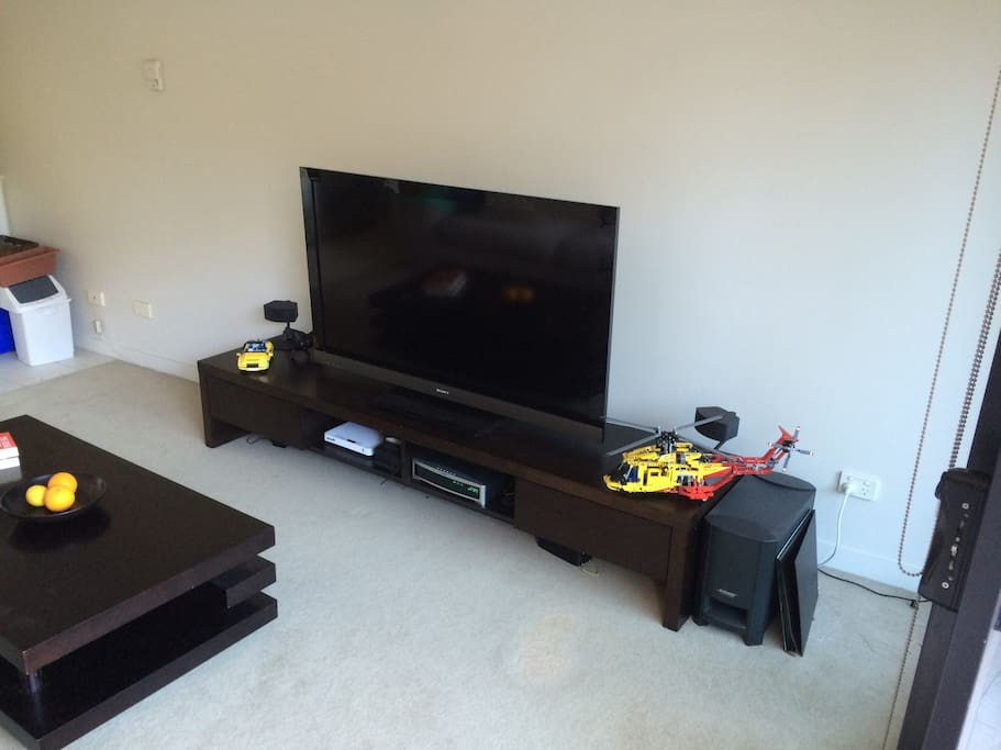 """Living Room with a 55"""" TV, AppleTV, BOSE Sound system and loads of DVDs"""