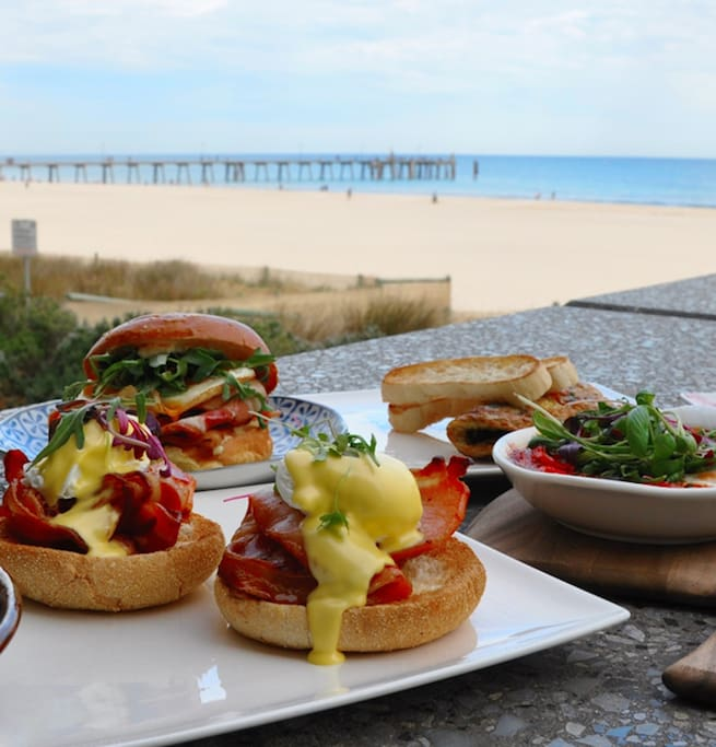 Enjoy a delicious breakfast at the downstairs Pier Hotel