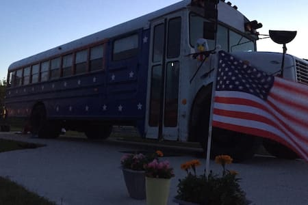 Betsy Ross- red, white and blue! RV Bus rental.