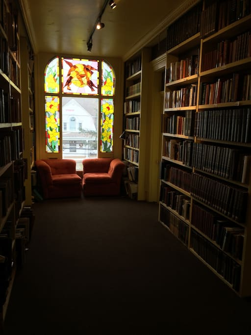 The library is stocked with 5,000 books.
