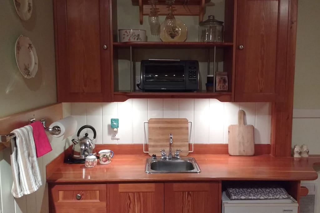 Kitchenette with toaster oven, electric tea kettle and blender
