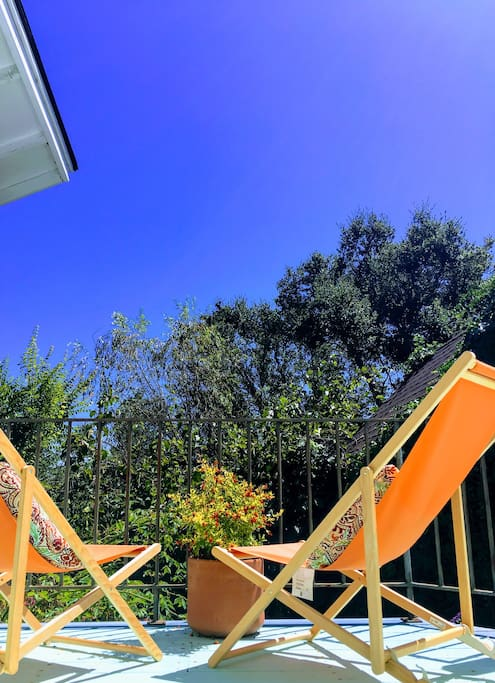Blue skies from the Quail's Nest's private deck.