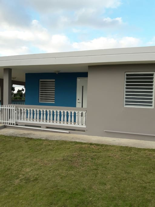 Brand new paint job after storm. Modern Blue and Grey exterior.