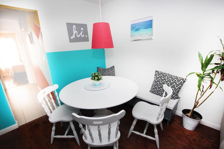 Enjoy round table discussions in our corner seating area