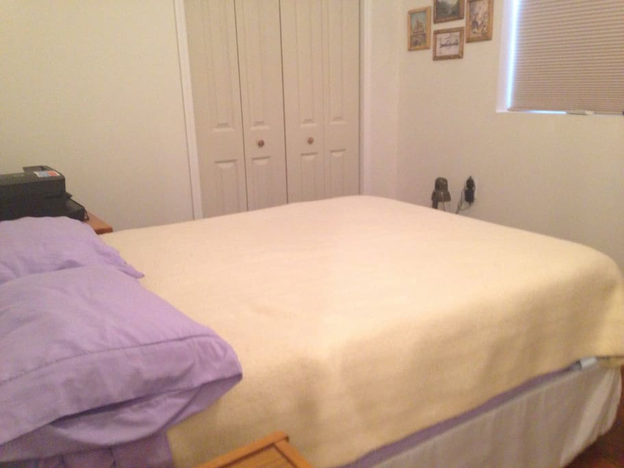 Nice comfortable double bed with drawers to store clothes if you need.