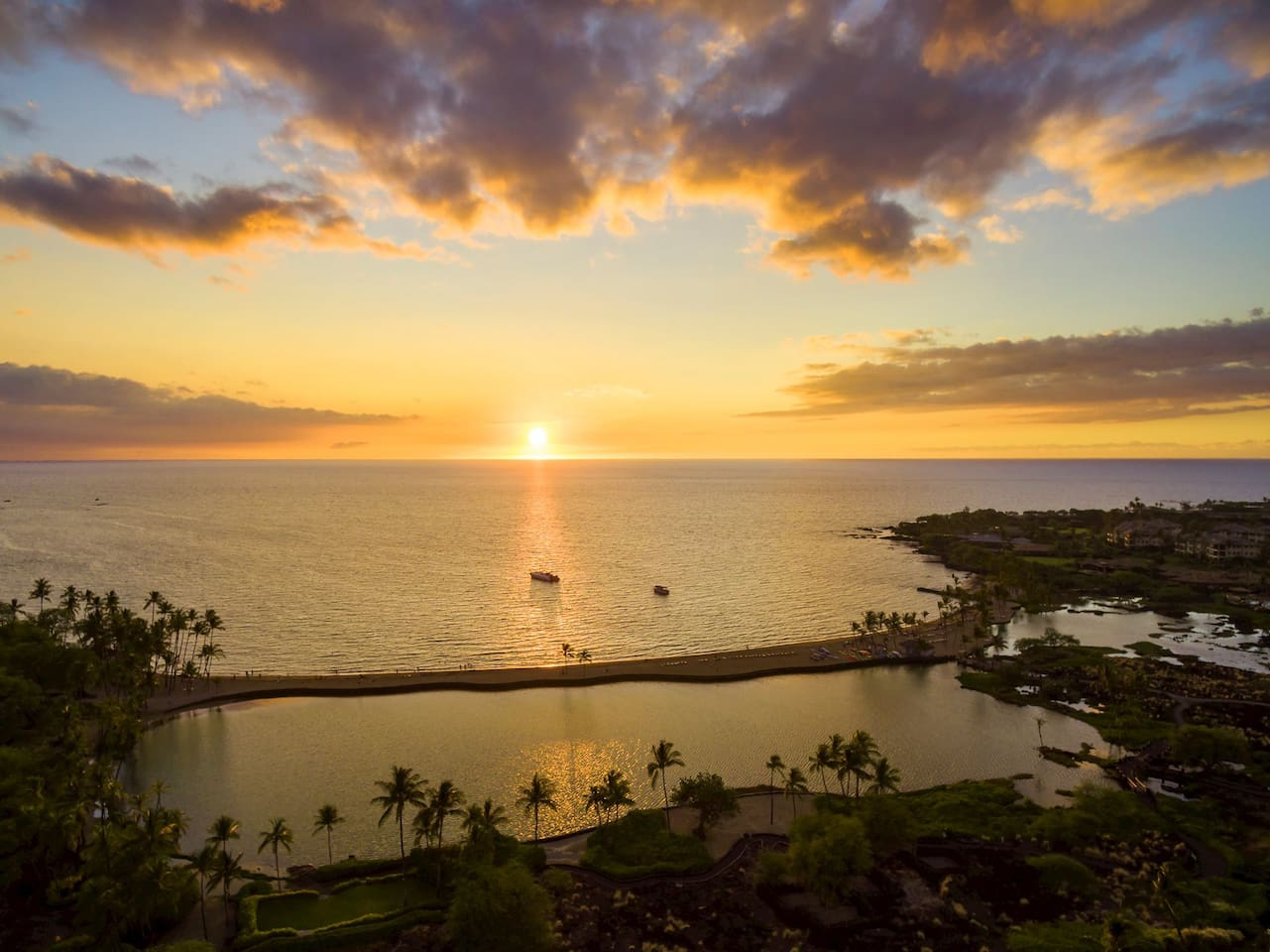 World class sunsets at Anaeho'omalu Bay.